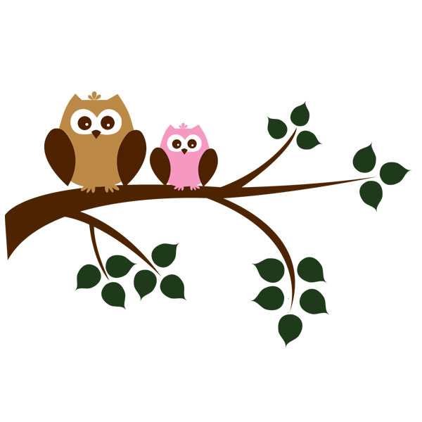 toddler time owl in tree silhouette clip art Colorful Owl Clip Art