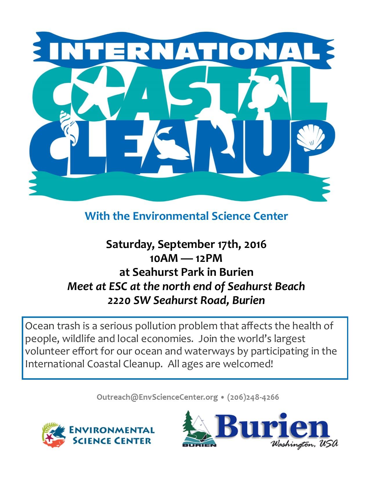 2016.9 Seahurst Beach Clean-ups flyer